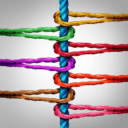 Photo pour Central connection business concept as a group of diverse ropes connected to a central rope as a network metaphor for connectivity and linking to a centralized support structure. - image libre de droit