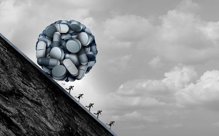 Foto de Opioid crisis and prescription painkiller addiction epidemic concept as a group of people running away from dangerous pills as a medical addict problem with 3D illustration elements. - Imagen libre de derechos