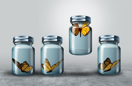 Photo pour Concept of leadership and powerful business visionary metaphor as a group of resting butterflies in a closed glass jar with one strong individual leader flying upward lifting the container as a 3D illustration. - image libre de droit