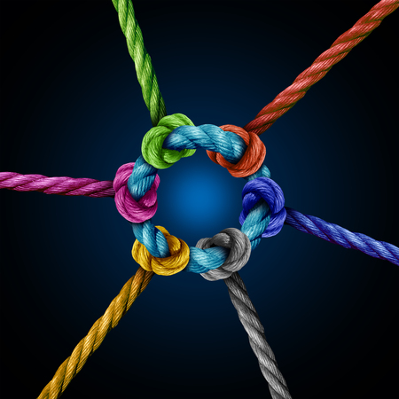Photo pour Center network connection business concept as a group of diverse ropes connected to a central circle rope as a network metaphor for connectivity and linking to a centralized support structure. - image libre de droit