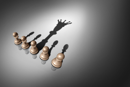 Photo pour Concept of leader and leadership as a group of chess pawn pieces with one piece casting a shadow of a king as a metaphor for potential as a 3D render. - image libre de droit