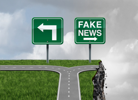 Foto de Fake news risk and alternative facts danger concept as a crossroad path with truth and false direction traffic sign leading to a broken cliff as a media or fraudulent communication symbol with 3D render elements. - Imagen libre de derechos
