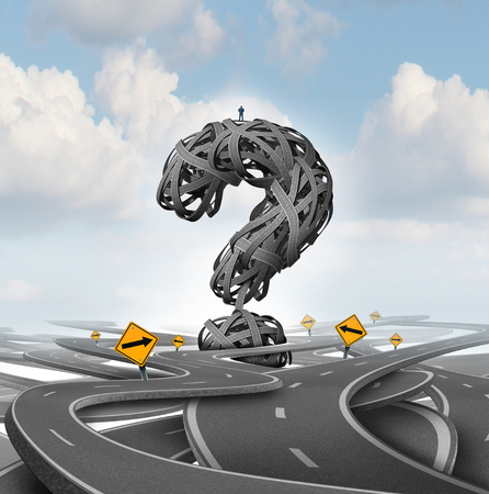 Foto de Direction confusion question as a person standing on a group of tangled streets shaped as a question mark as a business or life metaphor for finding answers with 3D render elements. - Imagen libre de derechos