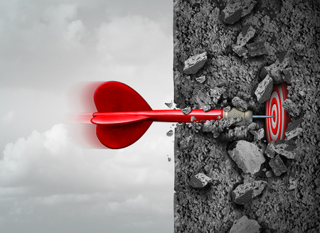 Foto de Focus and determination to succeed and breaking through deep inside overcoming obstacles as a concrete wall to reach a goal as a metaphor with 3D illustration elements. - Imagen libre de derechos