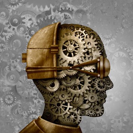Foto de Steampunk and steam punk antique machine technology intelligence design as a retro gear cyberpunk and machine cog head design as science fiction fantasy art as a 3D illustration. - Imagen libre de derechos