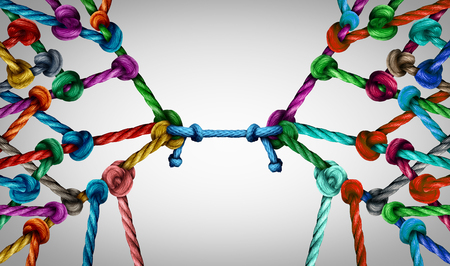 Photo pour Connecting teams and connected group concept as many different ropes tied and linked together as an unbreakable chain as business trust metaphor linking partners for teamwork support and strength. - image libre de droit