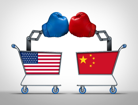 Photo for United States and China trade war and economic tariff dispute and financial market negotiation between the American and Chinese governments with 3D illustration elements. - Royalty Free Image