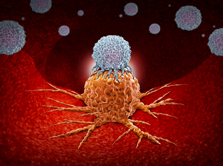 Foto de Immunotherapy as a human immune system therapy concept as a biomedical or biomedicine oncology treatment using the natural cancer fighting properties of the body as a 3D render. - Imagen libre de derechos