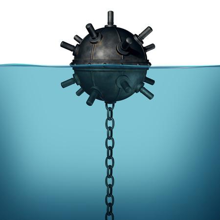 Foto de Sea mine underwater explosive device object concept as a 3D render of a naval ocean bomb. - Imagen libre de derechos