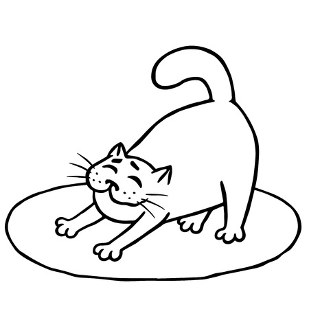 Illustrazione per Sleepy cute cat woke up and stretched on rug. Good morning. Contour freehand digital drawing. - Immagini Royalty Free