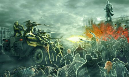 Photo pour Zombie horde attack on an armored troop carrier with shooting soldiers. Gloomy city of the dead. Illustration in horror genre. - image libre de droit