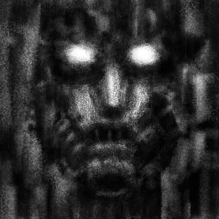 Photo pour Scary robot face with evil eyes. Black and white illustration in horror fiction genre with coal and noise effect. - image libre de droit