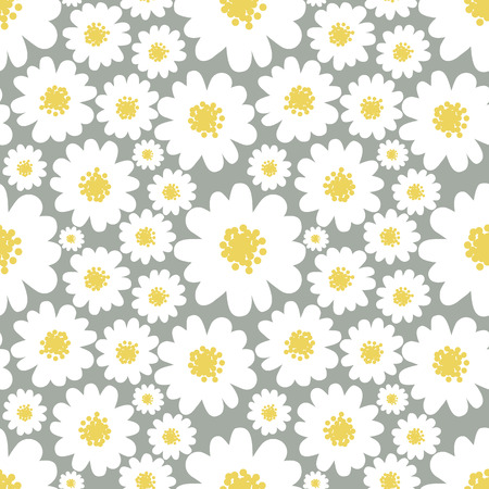 Illustration for White daisies seamless pattern on a grey background. - Royalty Free Image