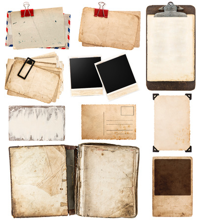 Photo for pile of old postcards isolated on white background. vintage paper sheets with clip. old photo frames. antique clipboard. retro design - Royalty Free Image