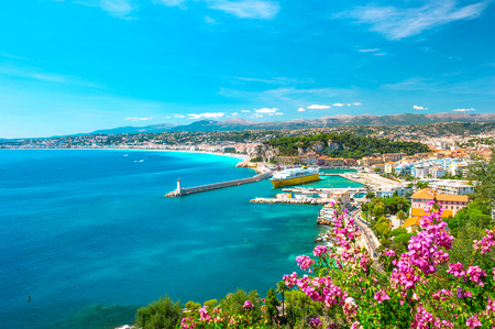 Photo for Nice city, french riviera, France  Turquoise mediterranean sea and perfect blue sky - Royalty Free Image