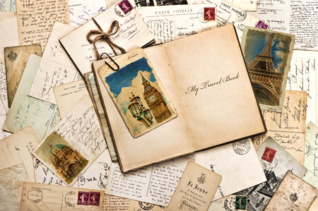 Photo for old postcards, letters, mails and open journal with sample text My Travel Book  vintage style travel background - Royalty Free Image