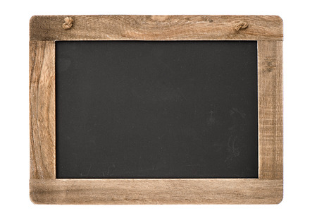 Photo pour vintage blackboard with wooden frame isolated on white background  chalkboard with place for your text - image libre de droit