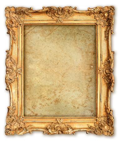 Foto de old golden frame with empty grunge canvas for your picture, photo, image  beautiful vintage background - Imagen libre de derechos