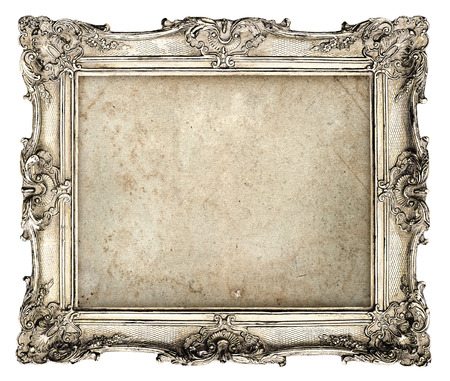 Photo for old silver frame with empty grunge canvas for your picture, photo, image  beautiful vintage background - Royalty Free Image