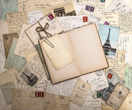Photo for old letters, french postcards and empty open book  nostalgic vintage background - Royalty Free Image