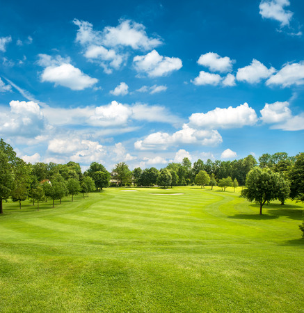 Foto per green golf field and blue cloudy sky  european landscape - Immagine Royalty Free