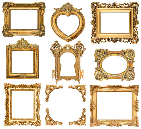 Photo for set of golden frames isolated on white baroque style antique objects  vintage  - Royalty Free Image