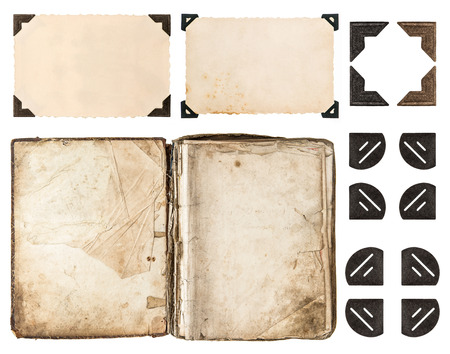 Photo for aged book, photo album, vintage paper card, photo corner isolated on white background  scrapbook elements - Royalty Free Image
