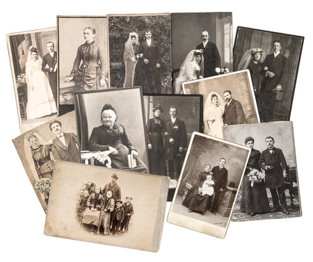Photo for group of vintage family and wedding photos circa 1885-1900. nostalgic sentimental pictures collage on white background. original photos with scratches and film grain - Royalty Free Image