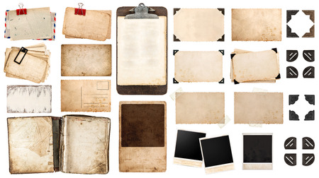 Photo for vintage paper sheets, book, old photo frames and corners, antique clipboard isolated on white background. - Royalty Free Image
