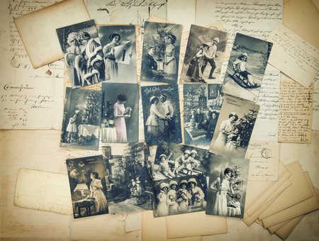 Photo for Vintage christmas holidays postcards typical for early 20-th century. retro style toned picture - Royalty Free Image