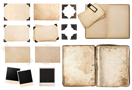 Photo pour antique book, vintage paper card with corners, tapes and frames, photo cardboard, instant photo polaroid postcard isolated on white background - image libre de droit