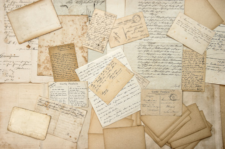 Photo for old letters, handwriting, vintage postcards, ephemera. grungy nostalgic sentimental paper background - Royalty Free Image