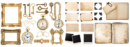 Photo for Big collection of vintage objects. Old book, photo frames with corner, golden accessories isolated on white background. - Royalty Free Image