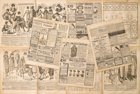 Photo pour Newspaper pages with antique advertising. Fashion magazine for woman - image libre de droit
