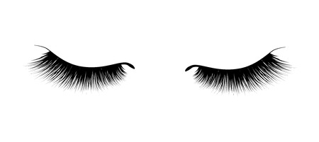 Illustration pour Eyelash extension. A beautiful make-up. Thick fuzzy cilia. Mascara for volume and length. - image libre de droit