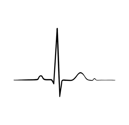 Illustrazione per ecg heartbeat. cardiology symbol. logo for cardiologist. Medical icon - Immagini Royalty Free