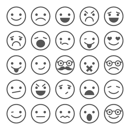 Set of smiley icons  different emotions
