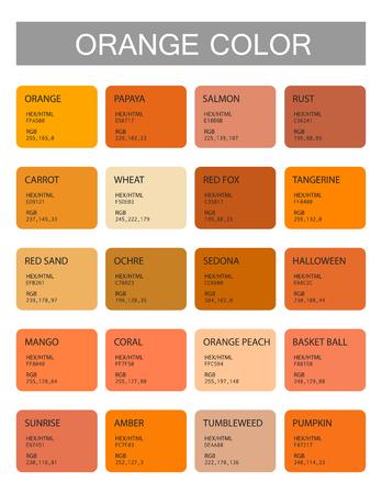Illustration pour Orange. Color codes and names. Selection of colors for design, interior and illustration. Poster - image libre de droit