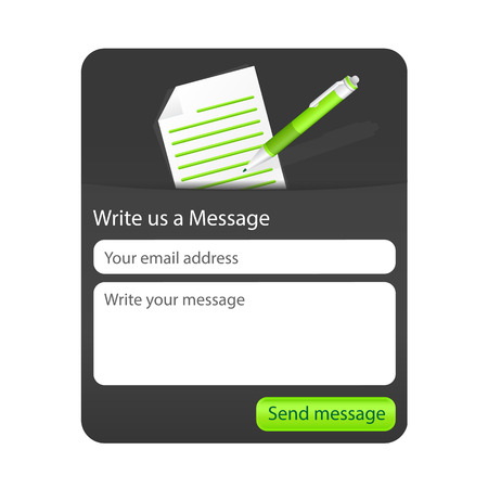 Photo pour Dark contact form with light paper and green ballpoint  Element for websites and mobile applications  - image libre de droit
