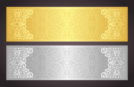Illustration pour Luxury golden and silver gift certificate in vintage style - image libre de droit