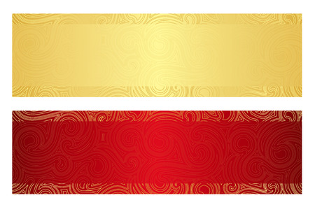 Illustration pour Luxury golden and red gift certificate with swirl pattern - image libre de droit