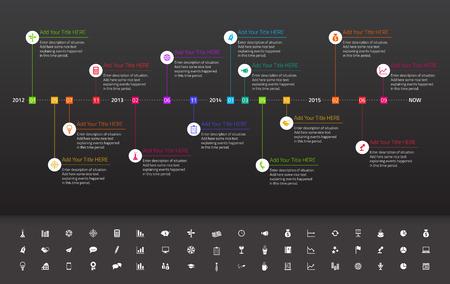 Illustration pour Modern flat timeline with rainbow milestones on dark background - image libre de droit