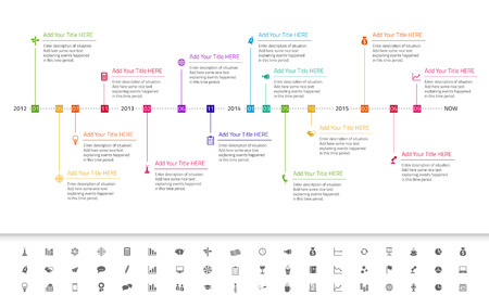 Illustration pour Modern flat timeline with red, orange and yellow icons - image libre de droit