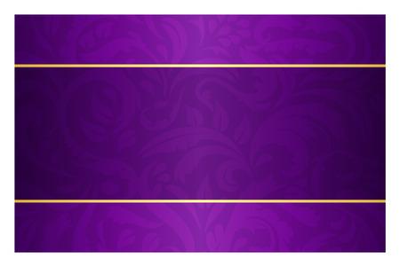 Illustration pour Purple card with vintage pattern and golden label - image libre de droit