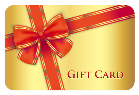 Illustration pour Golden gift card with red diagonal ribbon - image libre de droit