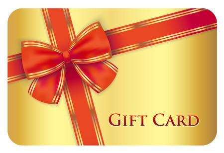 Ilustración de Golden gift card with red diagonal ribbon - Imagen libre de derechos