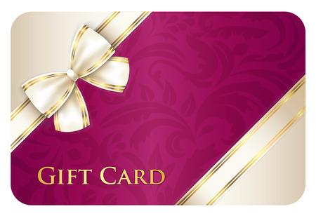 Ilustración de Scarlet gift card with cream diagonal ribbon - Imagen libre de derechos