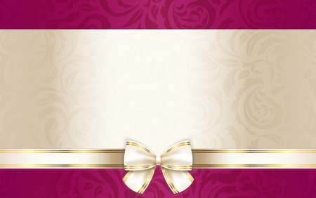 Illustration pour Luxury gift certificate with floral pattern and cream ribbon - image libre de droit
