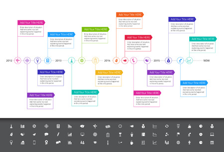 Illustration pour Modern flat timeline with rainbow colors and set of icons - image libre de droit