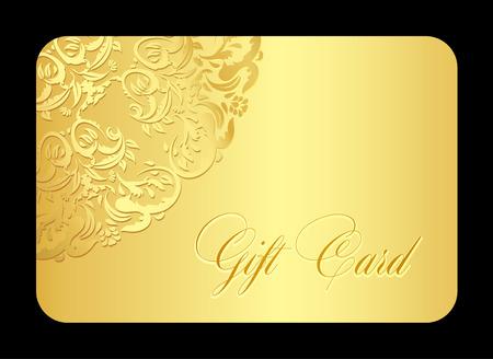 Ilustración de Luxury golden gift card with rounded lace - Imagen libre de derechos
